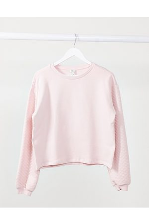 River Island Long sleeve quilted sleeve sweatshirt in