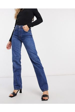 ASOS High rise stretch 'effortless' crop kick flare jeans in smokey darkwash