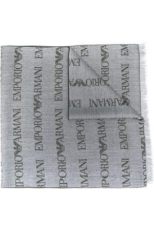 Emporio Armani Logo embroidered scarf