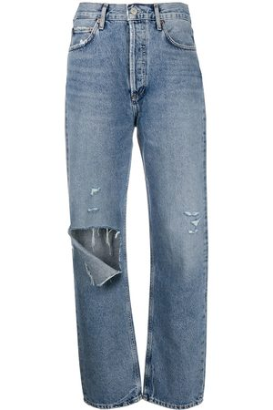 AGOLDE Ripped organic cotton boyfriend jeans