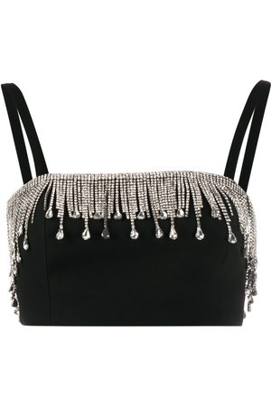 Philipp Plein Crystal fringe crop top