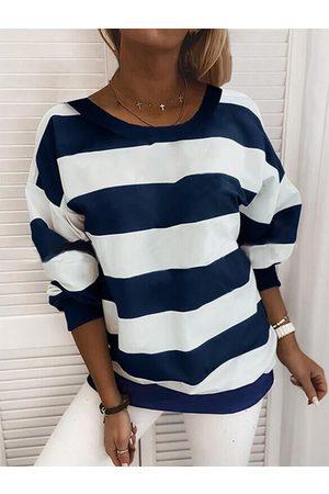YOINS Casual Striped Crew Neck Long Sleeves Sweatshirt