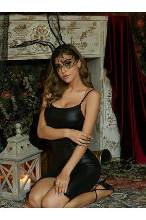 YOINS Black Square Neck Spaghetti Strap Slit Design Sleeveless Faux Leather Dress