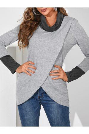 YOINS Grey Crossed Front Chimney Collar Long Sleeves Sweatshirt