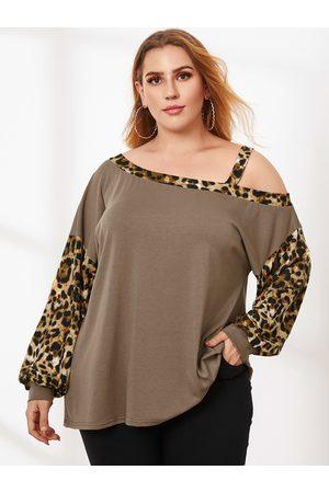 YOINS Plus Size Cold Shoulder Patchwork Leopard Long Sleeves Tee