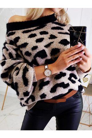 YOINS Leopard Crew Neck Long Sleeves Sweater