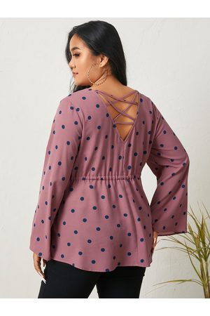 YOINS Plus Size V-neck Polka Dot Criss-cross Long Sleeves Bell Sleeves Tee