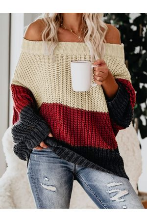YOINS Color Block Round Neck Long Sleeves Sweater