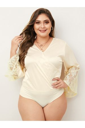 YOINS Plus Size Apricot V-neck Long Sleeves Satin Bodysuit