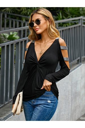 YOINS Black Glitter Twist Cut Out Cold Shoulder Long Sleeves Tee