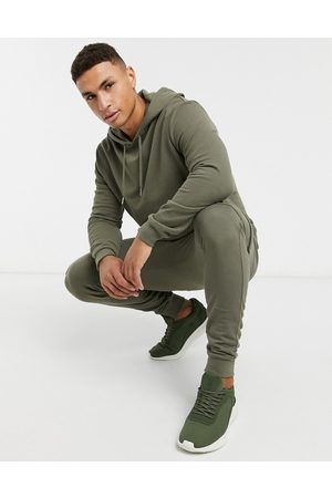 ASOS Tracksuit with hoodie & skinny cargo joggers in khaki