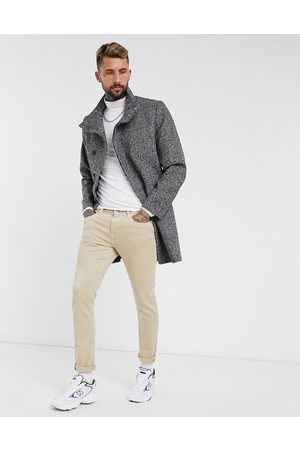 ASOS Wool mix overcoat with funnel neck in salt and pepper
