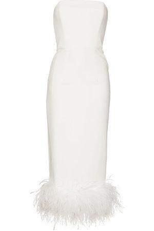 16Arlington Minelli feather-trim strapless midi dress
