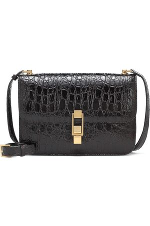 Saint Laurent Carré Small croc-effect leather shoulder bag