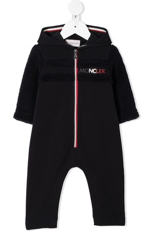 Moncler Embroidered-logo hooded babygrow
