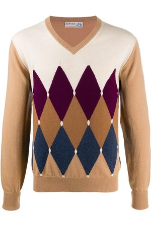 BALLANTYNE Diamond-printed cashmere jumper