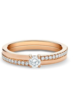 De Beers 18kt rose The Promise small round brilliant diamond ring