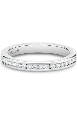 De Beers Platinum channel-set half eternity diamond band ring