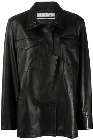OFF-WHITE Circle panel buttoned leather jacket
