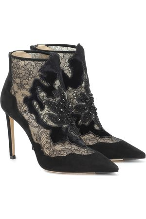 Jimmy Choo Lorre 100 suede and lace ankle boots