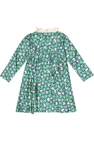 Caramel Puffin floral faille dress