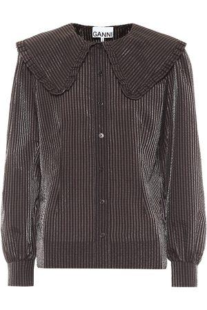 Ganni Striped seersucker blouse