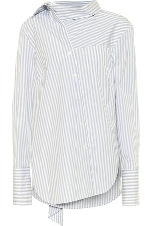 MONSE Tie-neck striped cotton shirt