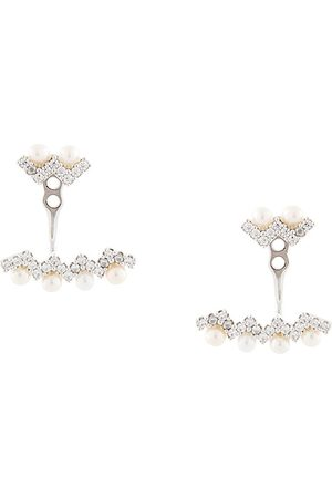 APM Monaco Up and Down small zigzag pearl earrings