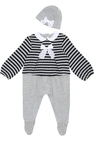 Il gufo Baby striped onesie and hat set