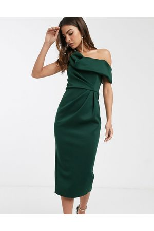 ASOS Drape fallen shoulder midi pencil dress in forest