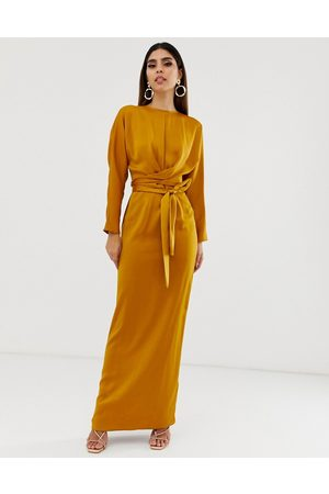 ASOS Maxi dress with batwing sleeve and wrap waist in satin