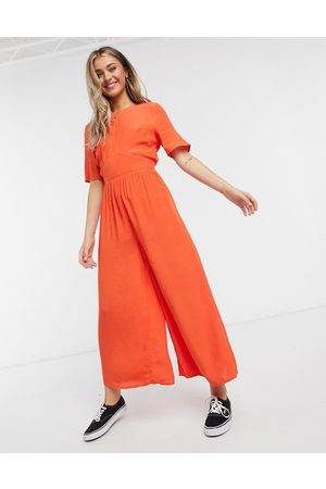 ASOS Tea jumpsuit with button back detail in tomato