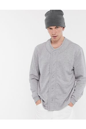 ASOS Oversized baseball sweatshirt with popper front in marl