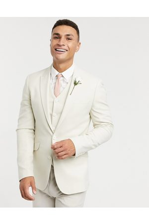 ASOS Wedding super skinny suit jacket in stone micro texture-Neutral