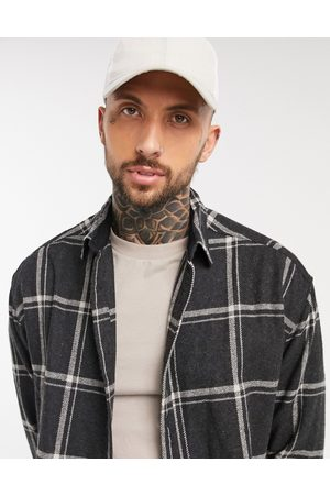 ASOS 90s oversized wool rich shirt in and white large scale check