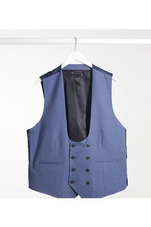 ASOS Plus wedding super skinny suit waistcoat with micro texture in mid