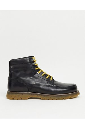 Jack & Jones Leather lace up boot with contrast sole in