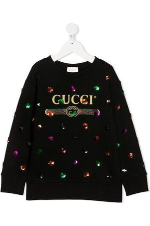 Gucci Girls Sweatshirts - Sequinned logo-print sweatshirt