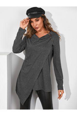 YOINS Dark Grey Button Design Drape Sagging Long Sleeves Sweatshirt