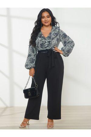 YOINS Plus Size Halloween V-neck Animal Belt Design Ruffle Trim Long sleeves Jumpsuit