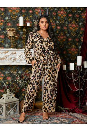 YOINS Plus Size Halloween V-neck Leopard Belt Design Long Sleeves Jumpsuit