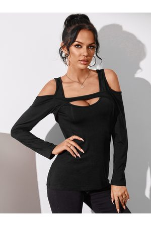 YOINS Sexy Cut Out Cold Shoulder Long Sleeves Tee