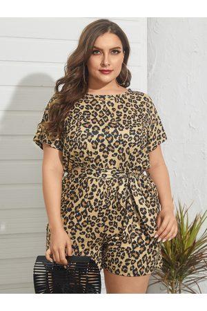 YOINS Plus Size Crew Neck Leopard Cut Out Belt Design Short Sleeves Playsuit