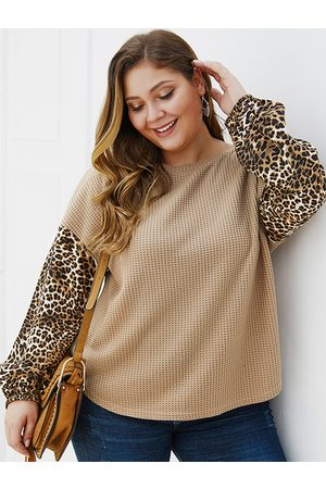 YOINS Plus Size Patch Leopard Round Neck Sweater