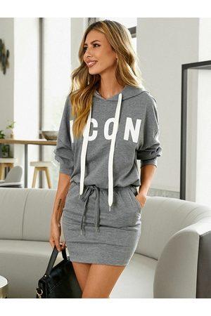 YOINS Hooded Letter Drawstring Long Sleeves Sweatshirt Dress