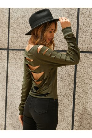 YOINS Army Green Ripped Round Neck Long Sleeves Sweatshirt