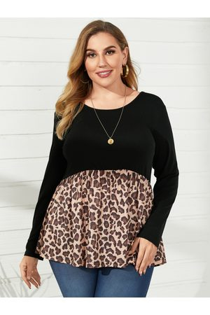 YOINS Plus Size Round Neck Patchwork Leopard Long Sleeves Tee