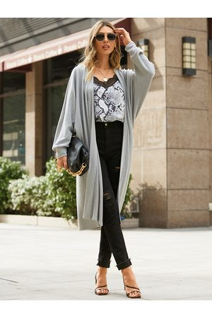 YOINS Grey Casual Maxi Length Long Sleeves Cardigan