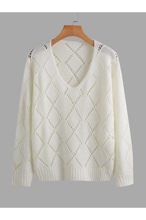 YOINS Casual Hollow Design V-neck Long Sleeves Sweater