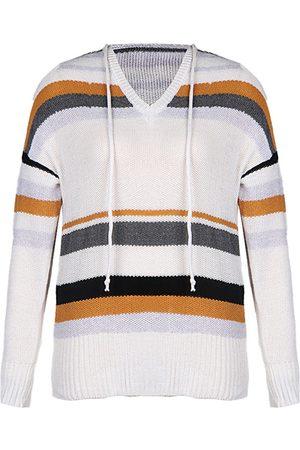 YOINS White Striped Hooded Design V-neck Long Sleeves Sweater
